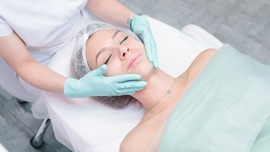 Female getting a cosmetic dermatology procedure in Melbourne