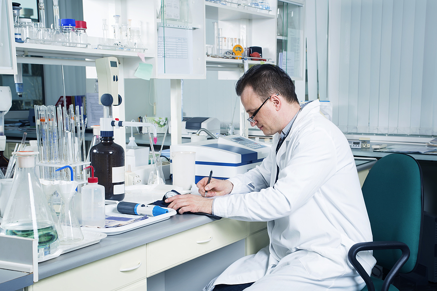 Compounding chemist in Australia while inside the laboratory
